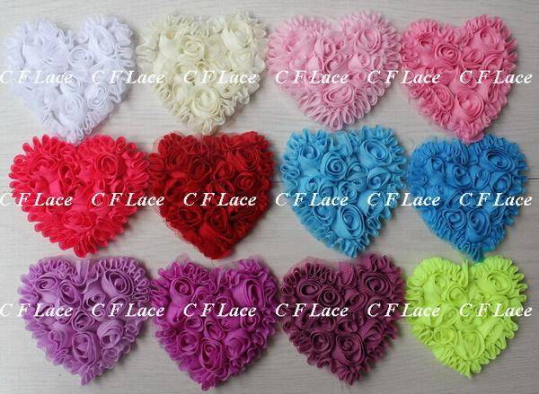 EMS/DHL Free Shipping 280pcs/lot 20 colors Chiffon Rosette Hearts,Shabby Chic Chiffon Heart Appliques,Hair Accessories(China (Mainland))