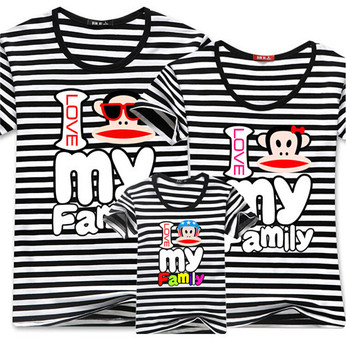 Семья мода лето семья установить хлопок мать / ребенок одежда соответствия мать дочь одежда полосатый с коротким рукавом футболки Z169