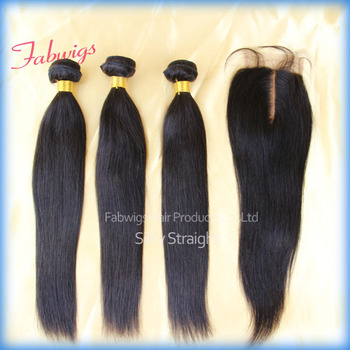 Unprocessed Brazilian Virgin Hair Extension with Lace Top Closure Brazilian Hair Bundles Silky Straight with Middle Part Closure