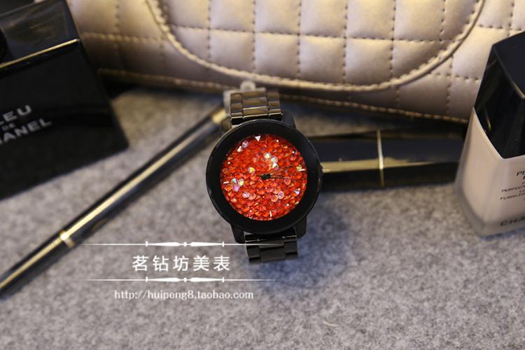 HK Fashion Luxury Brand Higth Качество Кварцевые Женские Часы Полный Черный Стали Кварцевые Платье Горный Хрусталь Женщины Часы Женский Наручные Часы