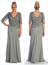 2016 Spring New Arrival Plus Size Sequins Chiffon Mother Of The Bride Dresses V-Neck Vestido A-line unique back Evening Gowns(China (Mainland))