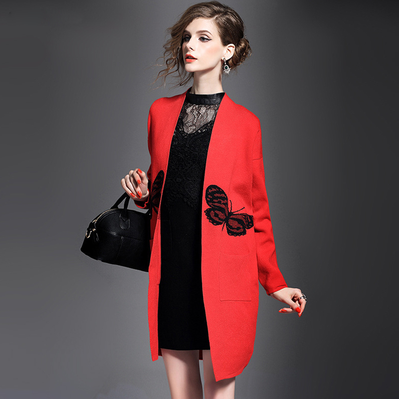 2016 Winter Autumn Warm Red Black Fashion Butterfly Free Size Cardigans Sweater Sueter Mujer Knitted Coat(China (Mainland))