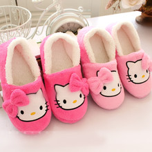 2016 Winter Women Slippers Cartoon Hello Kitty Slippers Indoor Home Shoes Warm Adult Shoes Plush Pantufas with Bowtie Loafers(China (Mainland))