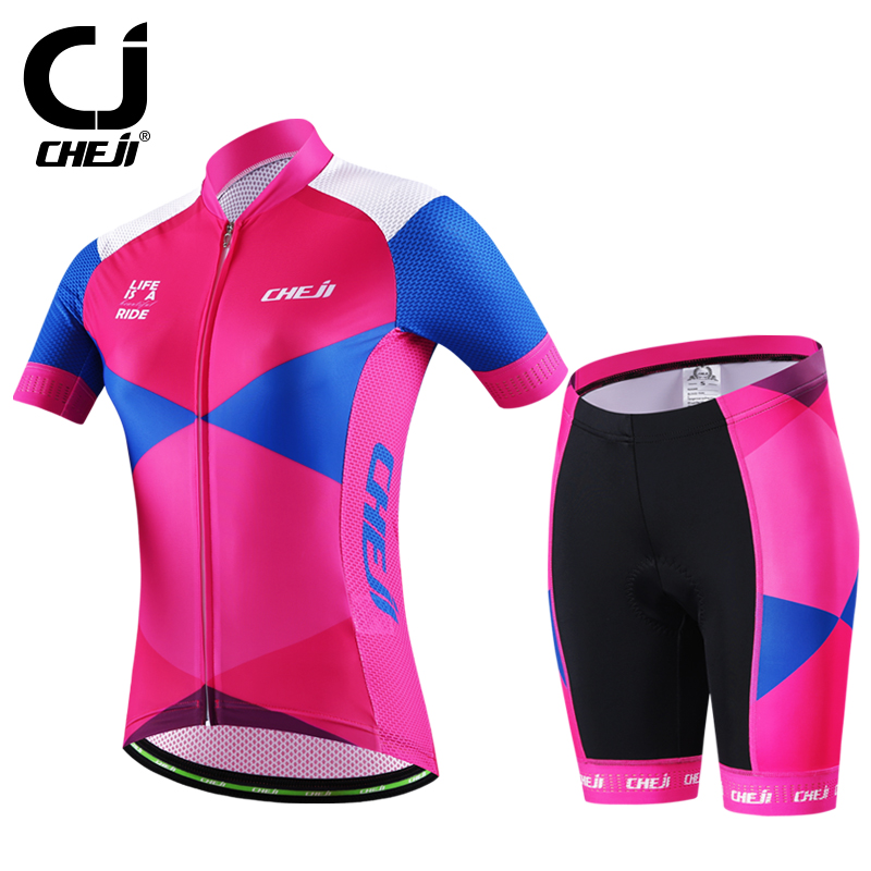 2016 New Cheji Cycling Jerseys Sets Women High Quality Bike Clothes Suit Pink Bicycle Clothes Summer Pro Sports Jersey Kits(China (Mainland))