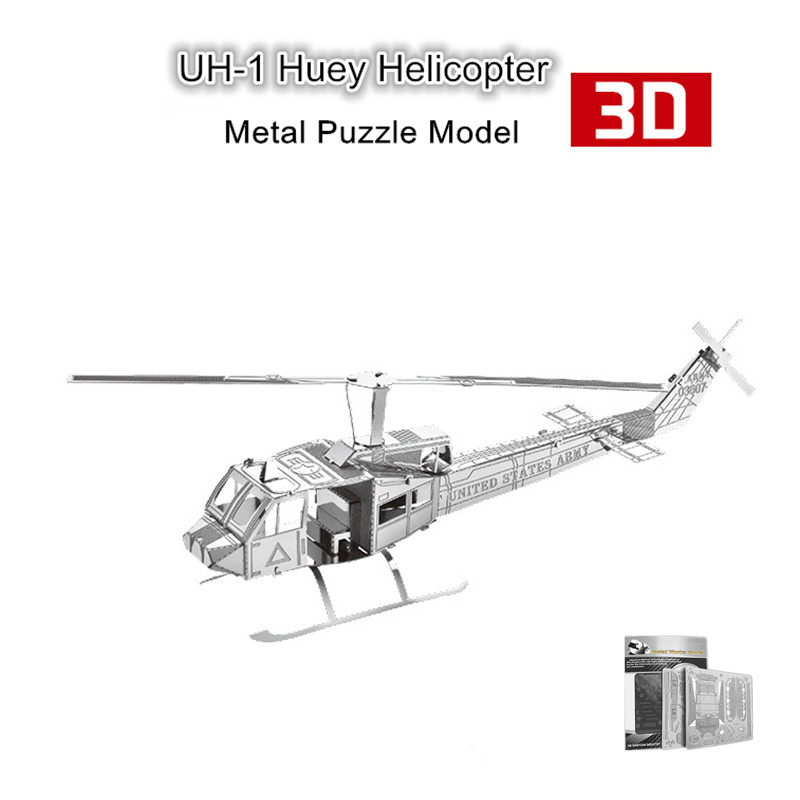 Nanyuan 3D UH-1 Huey Helicopter Metal Puzzle Metal Earth 3D Metalic Simulation Model Kits for Adults DIY Toys & Gifts(China (Mainland))