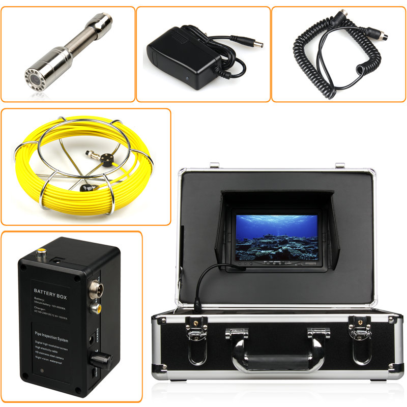 20m cable 7'' TFT LCD Monitor CCTV Sewer Pipe Inspection Underwater CCD Camera 12pcs LED lights Remote Control(China (Mainland))