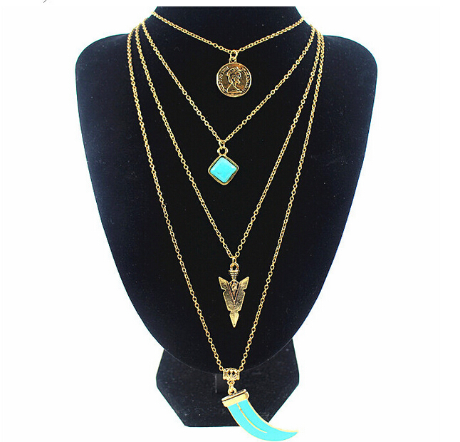 Bohemian Multi layer Chains Turquoise Round Coin Charms Necklaces Ivory Elephants Teeth Spike Pendant Necklace Women Jewelry(China (Mainland))