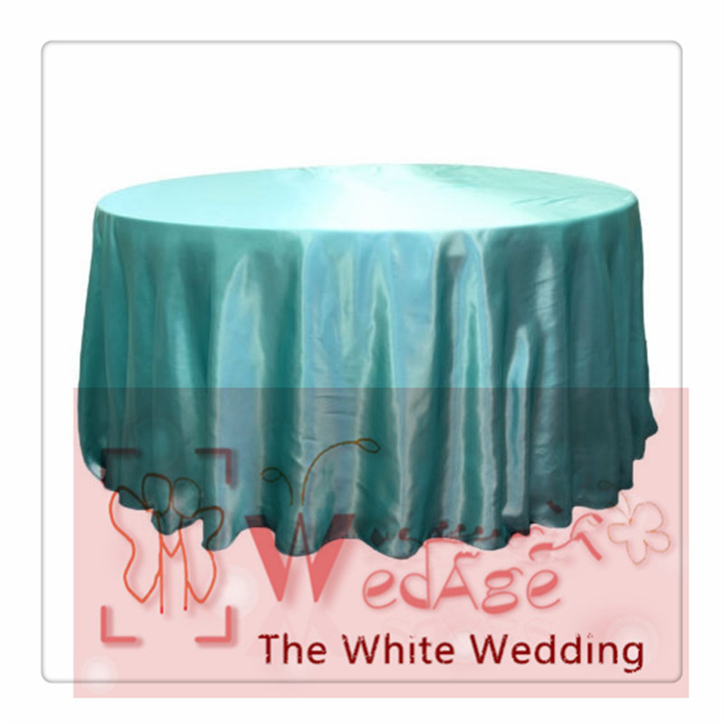 seamless-10pcs 120'' Round Satin Tablecloths for Weddings round aqua color table cloths(China (Mainland))