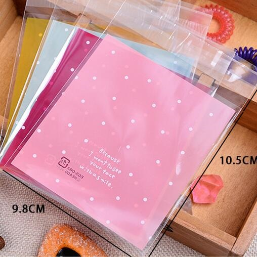 10x10cm/Pink or Blue with dots Self-adhesive Gift Food Packing bag Cellophane Bag/Cute Small Biscuit bag Plastic Bag/retail(China (Mainland))