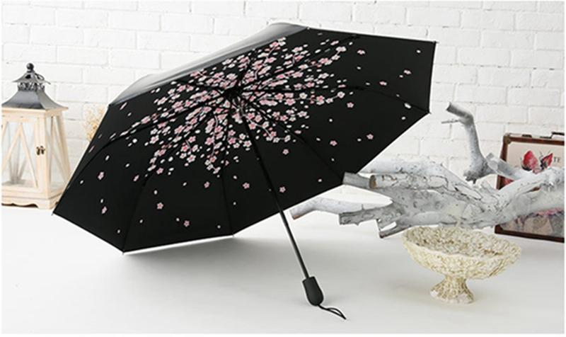 2016 new women 3 folding big umbrella men handle sun rain Umbrella Anti UV black coating parasol lady sun umbrellas wholesale(China (Mainland))