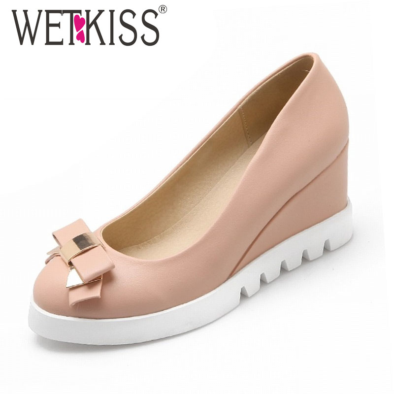 New Fashion Women Pumps 2016 Sweet Bowtie Shoes Woman Round Toe Wedges Heels Shoes Casual Solid Color High Heels Platform Shoes(China (Mainland))