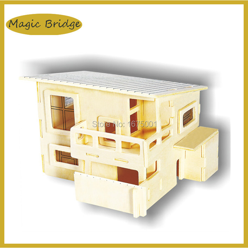 Mini Building model house 3D Puzzle wooden gift for boys and girls educational toys DIY toys 12.5* 11*9 cm free shipping !(China (Mainland))