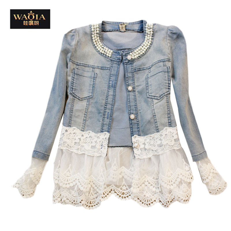 2015 New spring autumn  women Denim Jacket Outwear Jeans vintage Jackets Women Fashion slim lace patchwork O-neck Ladies JacketsОдежда и ак�е��уары<br><br><br>Aliexpress