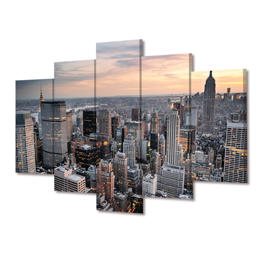 No frame new york large modern canvas wall art oil - Grand tableau new york ...