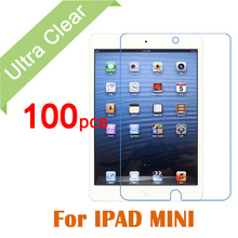 100pcs/lot For Apple iPad Mini 1 2 3 Tablet PC Transparent Protective Film Clear HD Glossy LCD Screen Protector film+Clean cloth