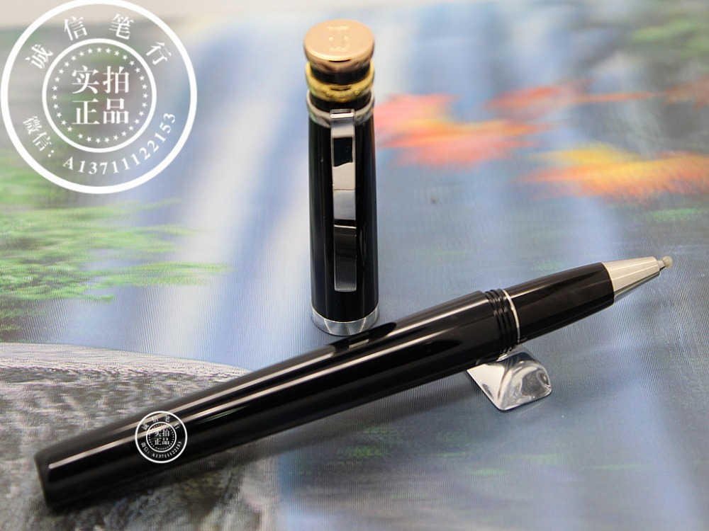 Free Shipping - High Quality Black Resin Silver Clip Golden Cap Roller Pen--Great quality<br><br>Aliexpress