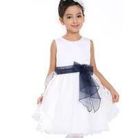 красивый бант цветок принцесса партии летом baby девушка дети платье атласа ruched бисером Милая девушка платье