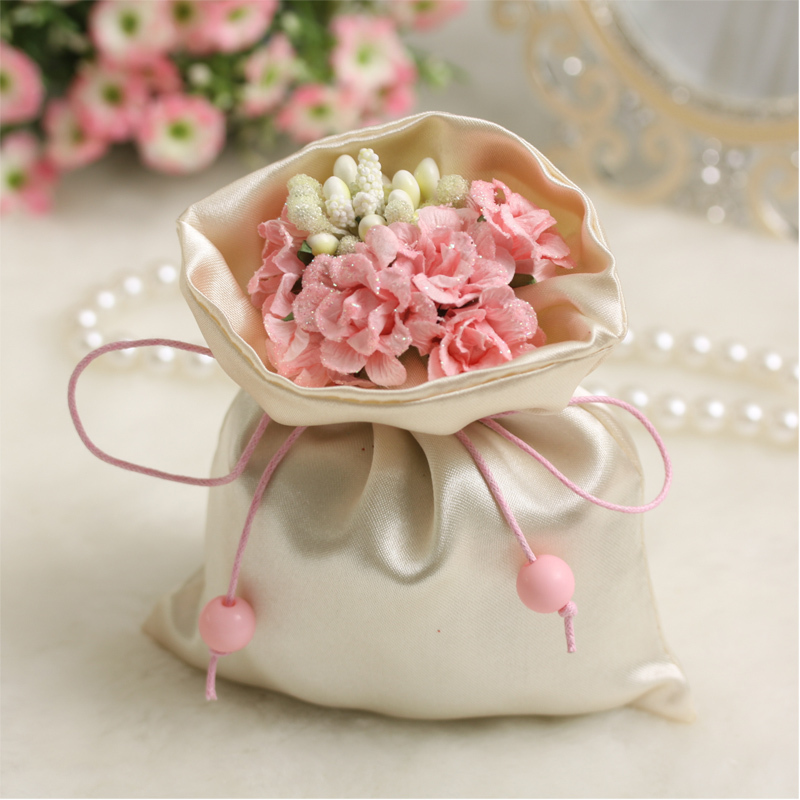 wedding candy bag with simulation flower satin pouch brocade bag