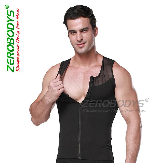 Мужчины формирователь новый бренд Zerobodys молнии тела корсет боди тонкий жилет ...