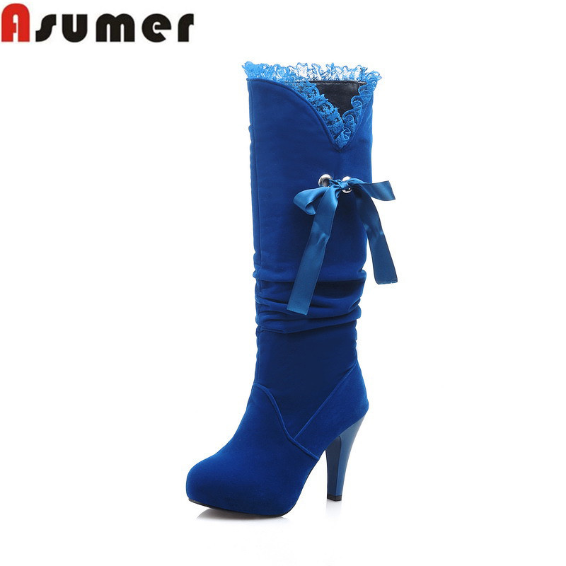 2016 Winter new sweet Flock bowtie ribbons solid red women boots fashion thick high heel platform slip knee - CHINA AISIMI Co., LTD store