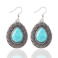 New Fashion High quality Vintage National Bohemian Style Flower Round blue gem Turquoise drop earrings jewelry women 2014 M11(China (Mainland))
