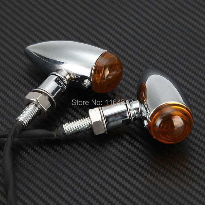4x Chrome Bullet housing 12 V Motorcycle Turn Signal Lights indicator light for Vulcan Suzuki Honda Shadow V-star Cruisers(China (Mainland))