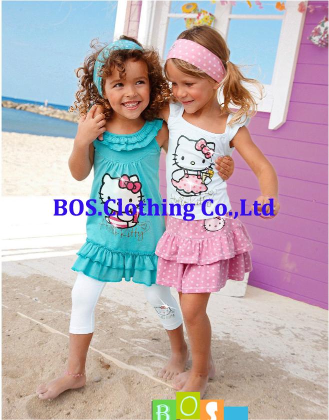 [Bosudhsou] Kids headband+Dress/skirt+Pants Children Clothing 3pcs new Brand Free Shipping Summer Hello Kitty Baby Girl Suits(China (Mainland))