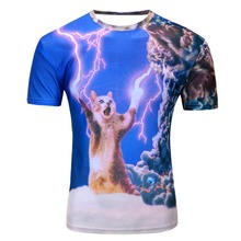 2015 Men's Fashion 3D Animal Creative T-Shirt, Lightning/smoke lion/lizard/water droplets 3d printed short sleeve T Shirt M-4XL