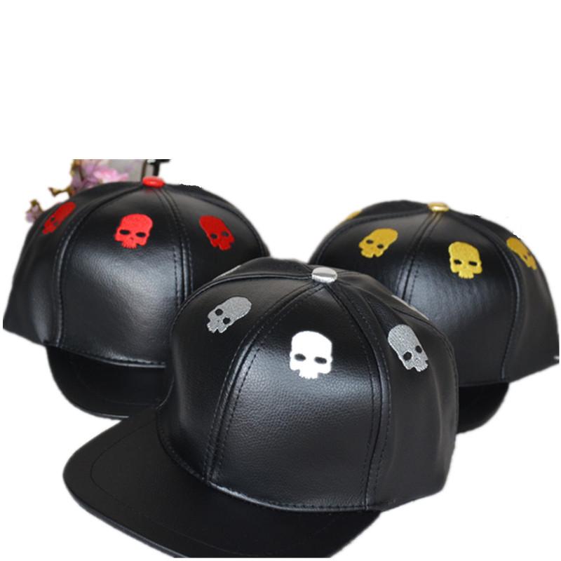 Bone snapback baseball caps skull pu leather 5 panel cap moto gp sombrero(China (Mainland))