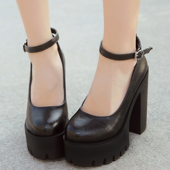 Womens Round Toe Creeppers Strap Platform Chunky High Heels Shoes ...