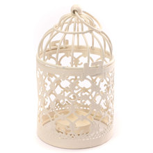 Vintage Metal Hollow Candle Holder Articles White Bird Cage Wrought Candlestick Hanging Lantern Home Decor Round 14*8cm(China (Mainland))