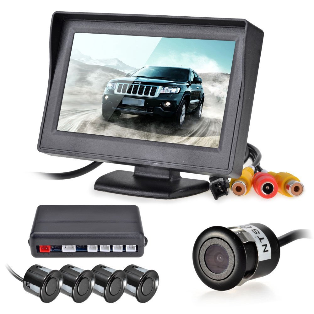 EDFY 12V 4 Parking Sensors LCD Display Camera Video Car Reverse Backup Radar System Kit Buzzer Alarm