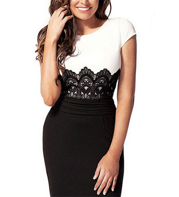Delicate New Women's Summer Midi Lace Bodycon Ladies Contrast Dress Size Top Hot Selling(China (Mainland))