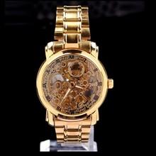 Nueva marca de lujo de color dorado del hombre de esqueleto reloj automático / reloj mecánico / militar mira el envío libre