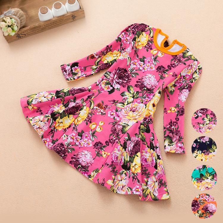 New 2014 Girl Print Dress Brand High Quality Flowers Print children Dress Designer Kids Clothes Kids dress vestidos de menina(China (Mainland))