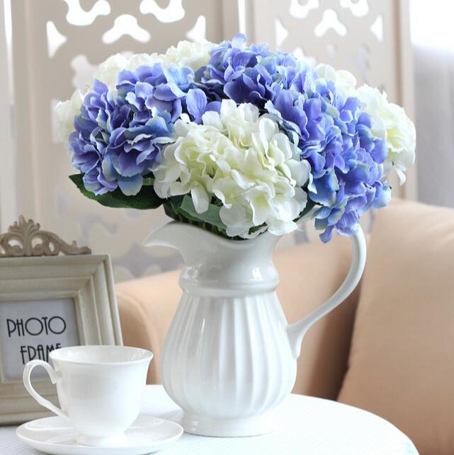 wedding decoration artificial flowers 1 Bouquet Silk Hydrangea Flower For Room Wedding Decor Party DIY(China (Mainland))