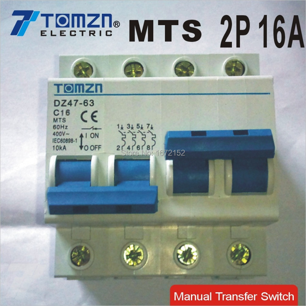 2P 16A MTS Dual power Manual transfer switch Circuit breaker MCB new 16 ampere 50HZ/60HZ 400~<br><br>Aliexpress