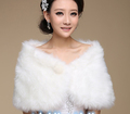 2016 New Arrival High Quality Elegant Bridal Wraps Warm Faux Fur Bolero Ivory Wedding Jacket Shawl