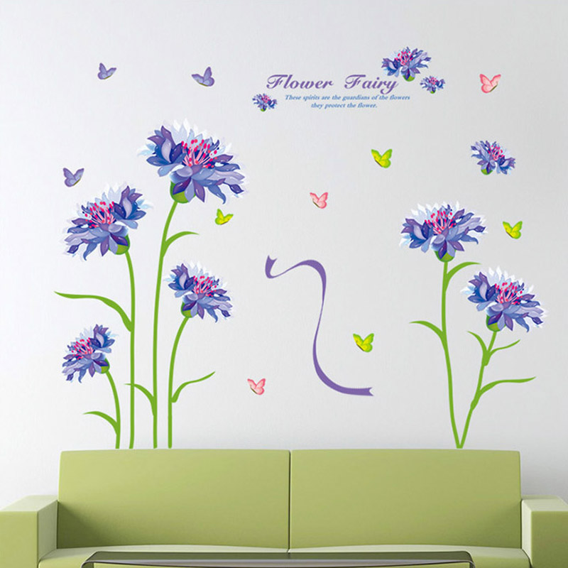 1pcs Cartoon Flower Vinyl Decals Wall Sticker Home Accessories Bedroom Background Living Room Wallpaper Posters vinilos paredes(China (Mainland))