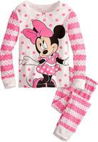 Retail free shipping 2014 100% cotton minnie kitty pink kids pajamas set long sleeve pijamas kids girls girls sleepwear