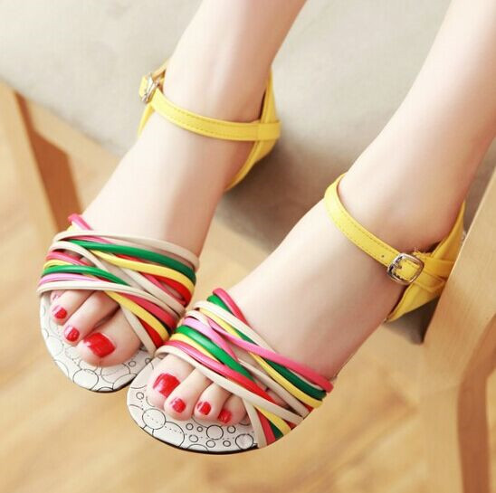 Free Shipping Beach Shoes Women Leather Sandals Summer Fashion Wedges Slides Rainbow Color Size 34~39