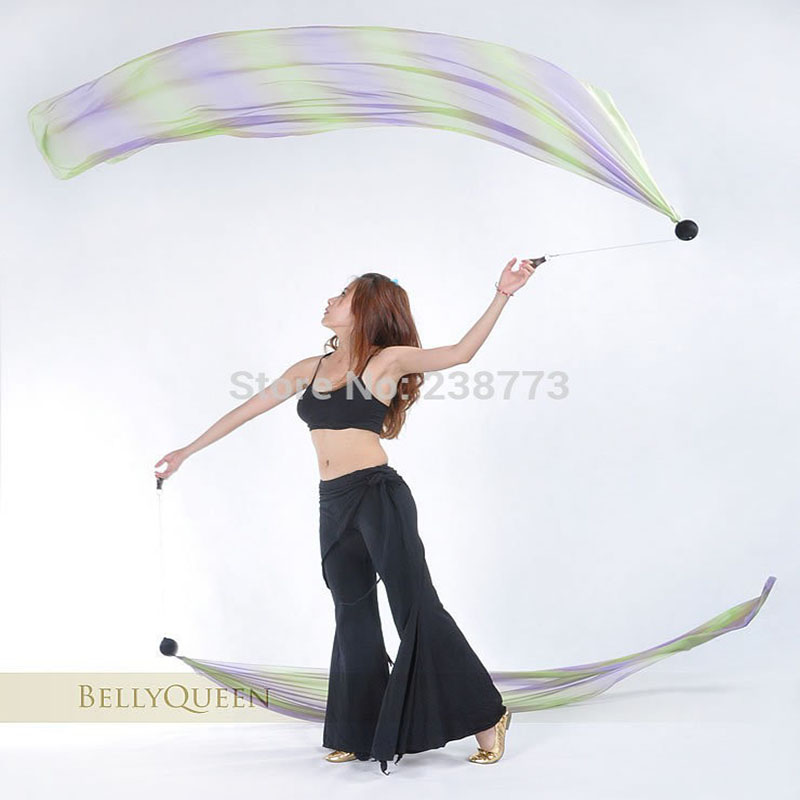 2016 Hot selling Free Shipping Belly Dance Veil Poi Silk 1 SET=2 Veils+2 Poi Chains Belly Dancing Accessories(China (Mainland))