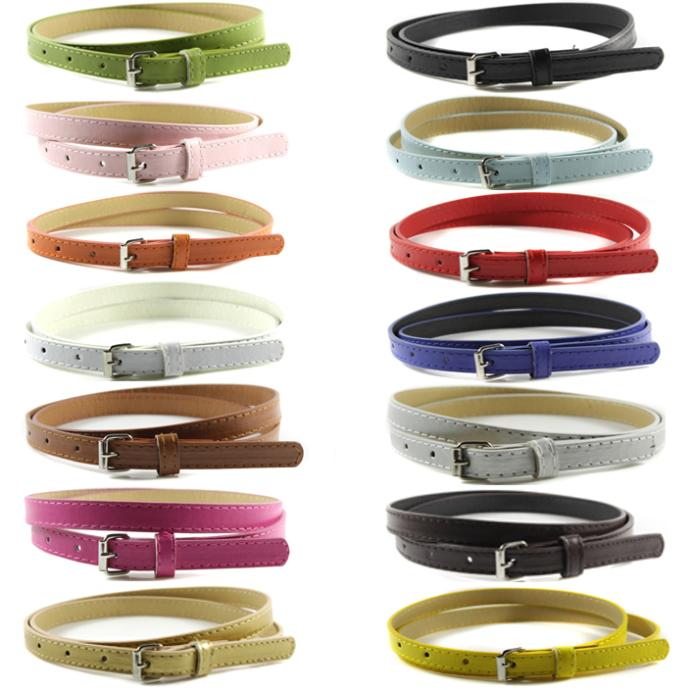 Sweetness Womens Faux Leather Belts Candy Color Thin Skinny Waistband Adjustable Belt - YRD Funnystore-retail& store