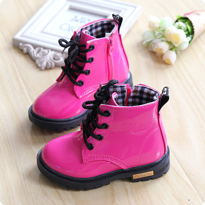 2014 Autumn Ankle Boots For Children Fashion Round Toe Sweet Patent Leather Martin Boots Boys And Girls Lace Up Military Boots(China (Mainland))