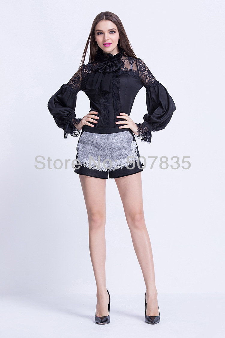 New Fashion Spring Summer Women Ruffled Bow Collar Long Sleeve Blouse Shirts Lace Patchwork Black Shirts Tops