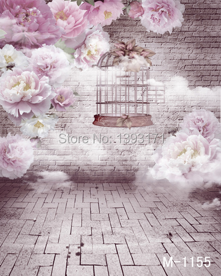 200CM * 300CM new 2016 vinyl photography backdrops photo studio photographic background brick wall pink folwers m-1155 - Thea Fashion co.,ltd store