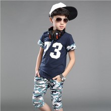Children Clothes Kids Sporty Camouflage Sets 2 Piece suit Summer Casual Boys Sets For 5-14 Years Old 2 Colors