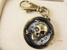 Wholesale 5pcs Skeleton Style Pendent KeyChain Men Quartz Pocket Watch (NBW0KC2206-SS3_5)(China (Mainland))