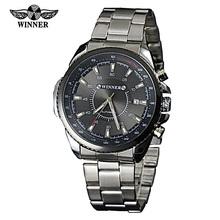 New Winner Full Steel Date Watch Men Army Military Automatic Mechanical Wristwatch Fashion Clock Hours Relogio Rolojes