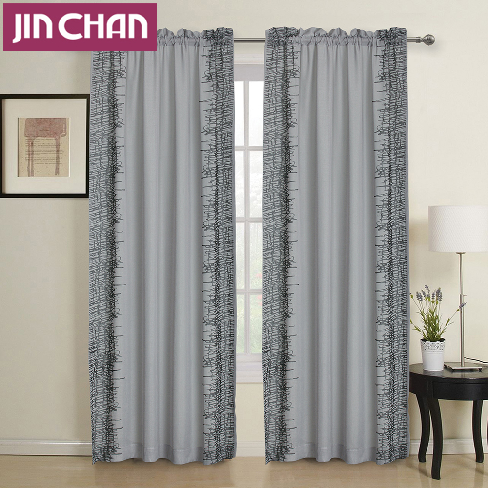 Strip Embroidered Rod Pocket Window Shade Curtains Fabric Polyester For Living Room The Bedroom Window Treatments Curtain Drapes(China (Mainland))